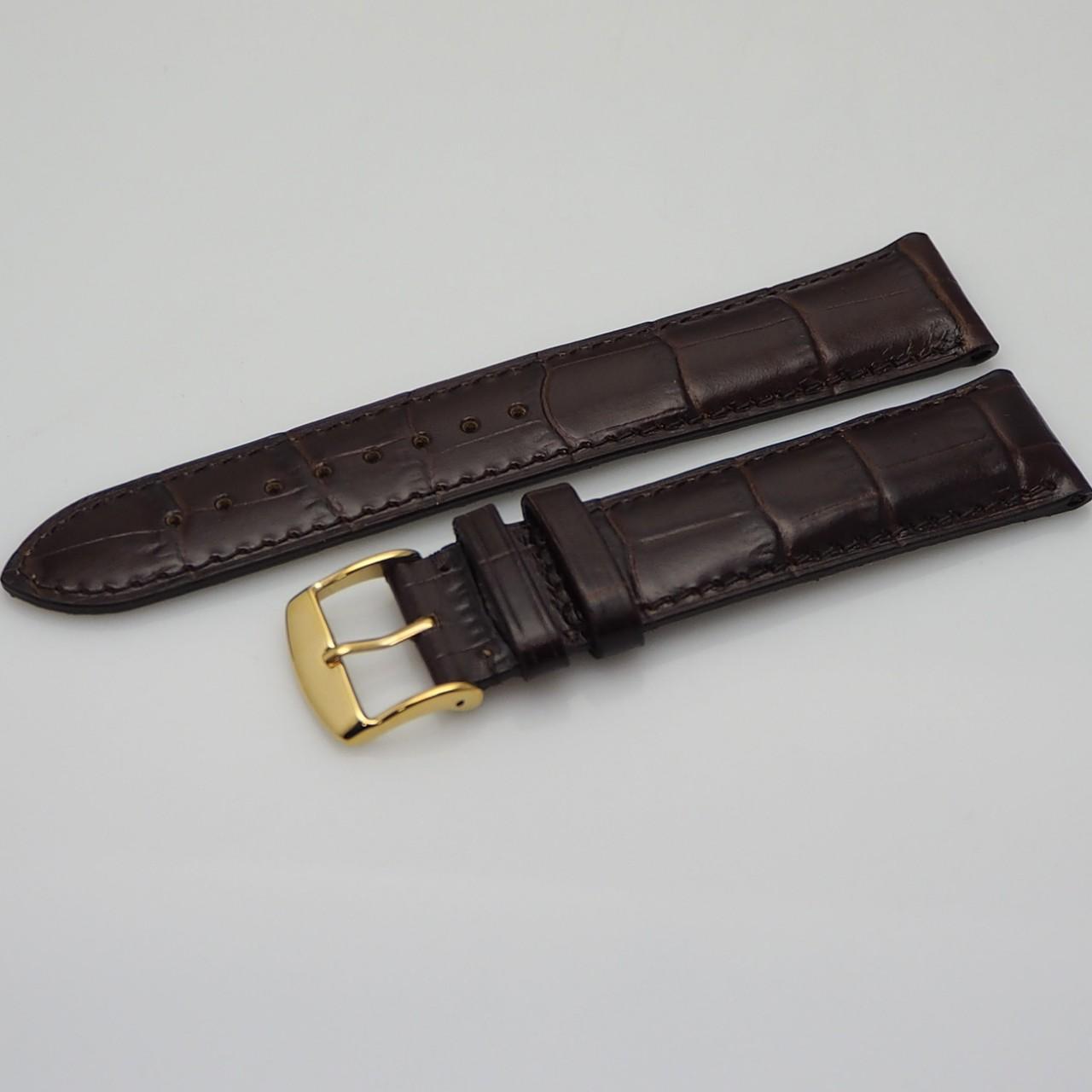 Original Dubois Lederband schwarz/ braun Kroko Calf 18mm