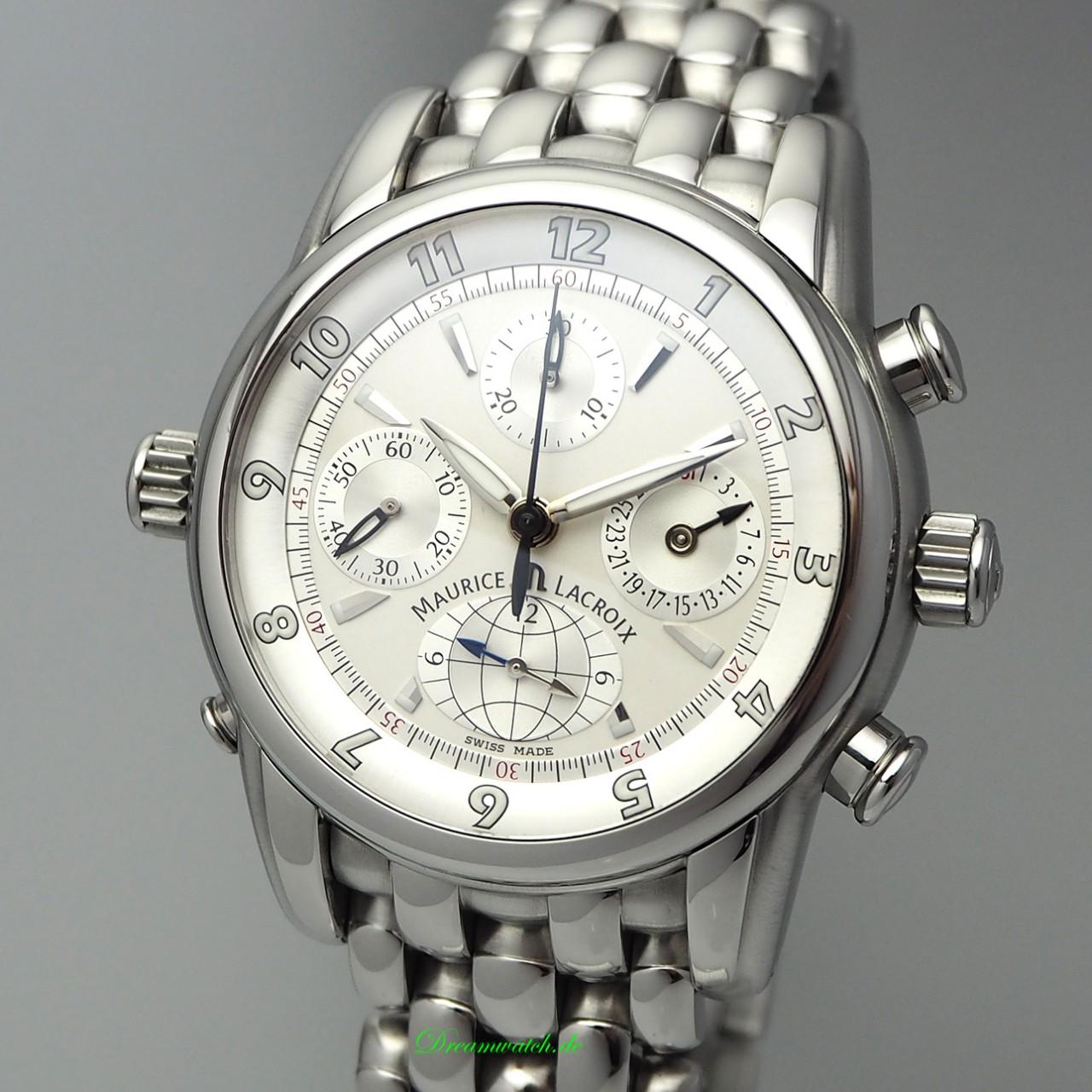 Maurice Lacroix Globe Chronograph -Stahl-Stahl, Box und Papiere TOP
