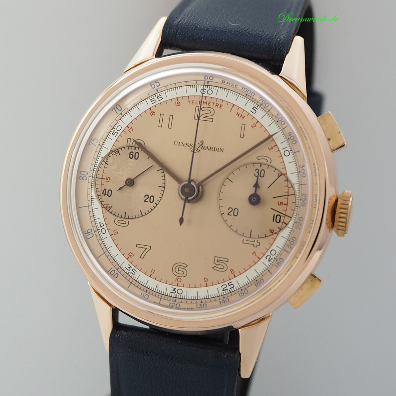 """Ulysse Nardin Chronograph Vintage -Rosegold 18k/750 from 1942 """"stepped case"""" + papers/ UN service"""