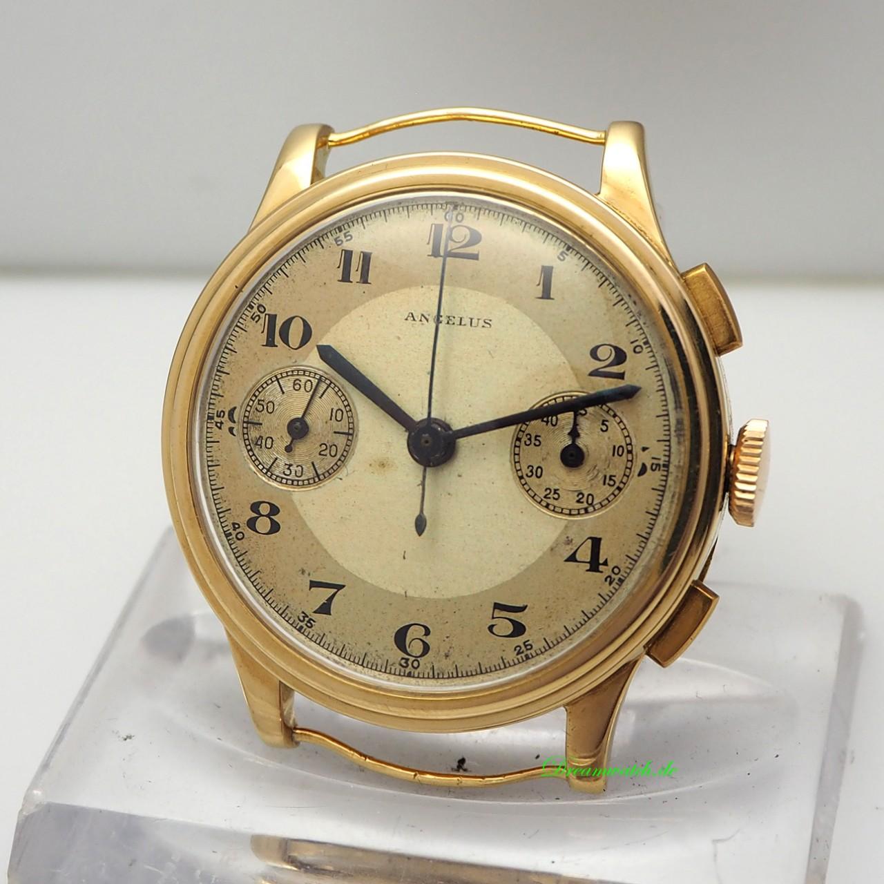 """Angelus Chronograph Vintage ca. 1920 Handaufzug Scharnierdeckel """"stepped case"""" Gold 18k"""