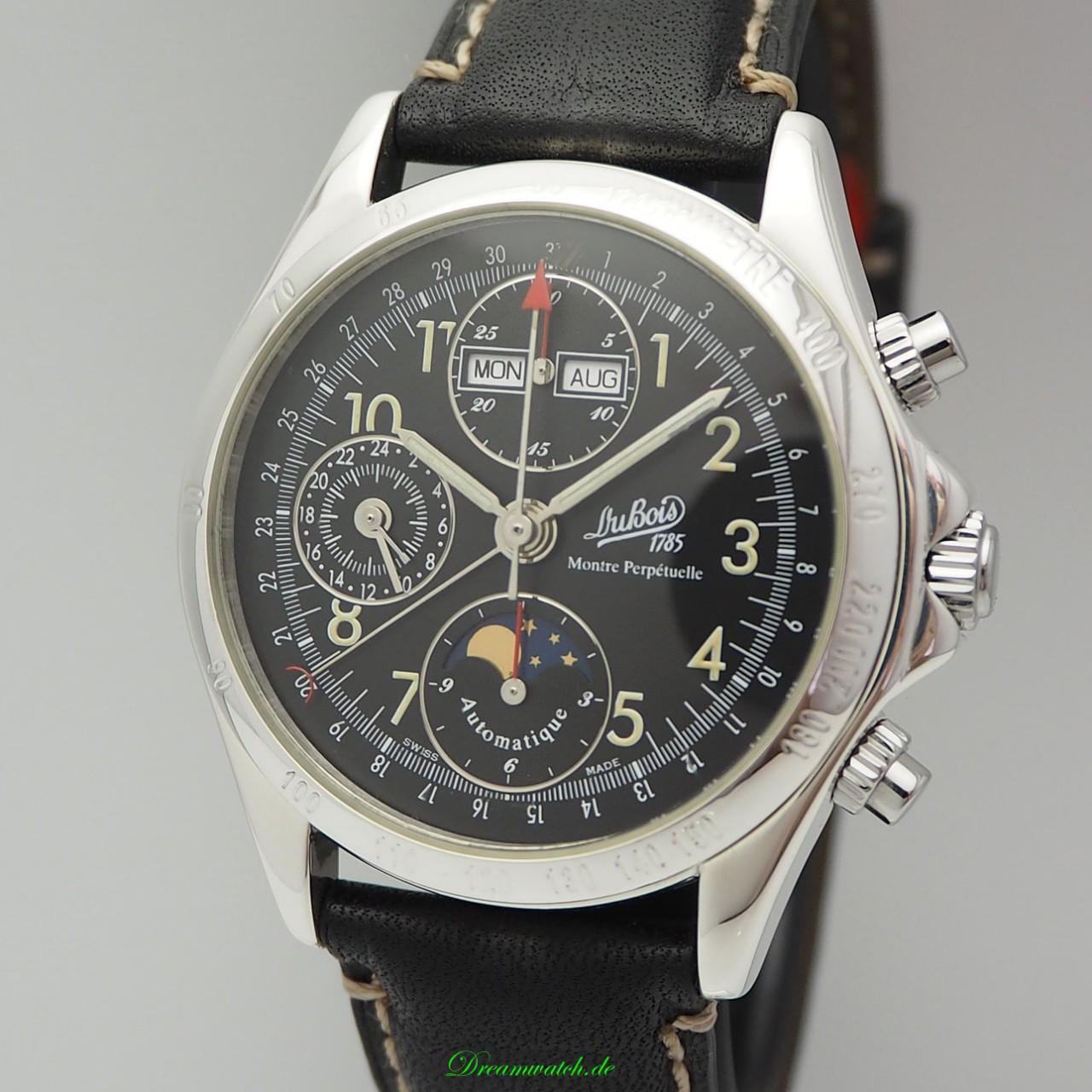 Dubois & Fils Montre Perpetuelle Vollkalender Mond Chronograph Limited 599 - Silber 925/ Box