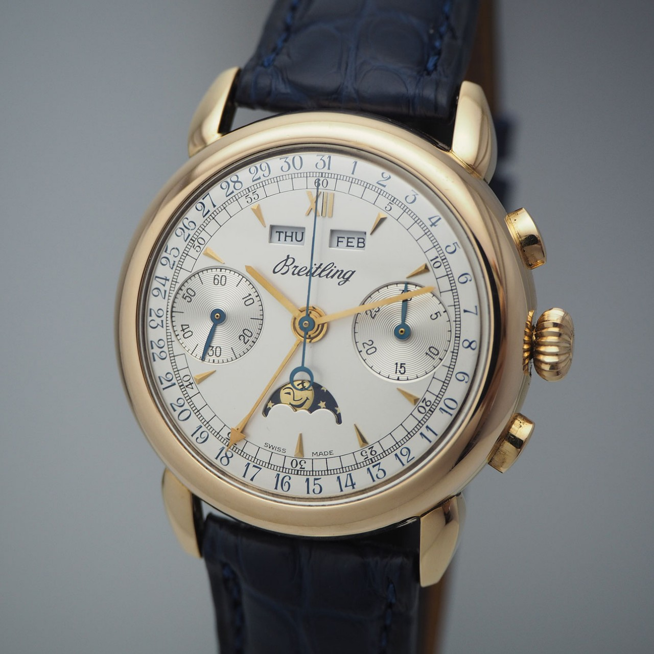Breitling 1939 Montbrillant Chronograph Vintage Rosegold 18k -perfect +serviced!