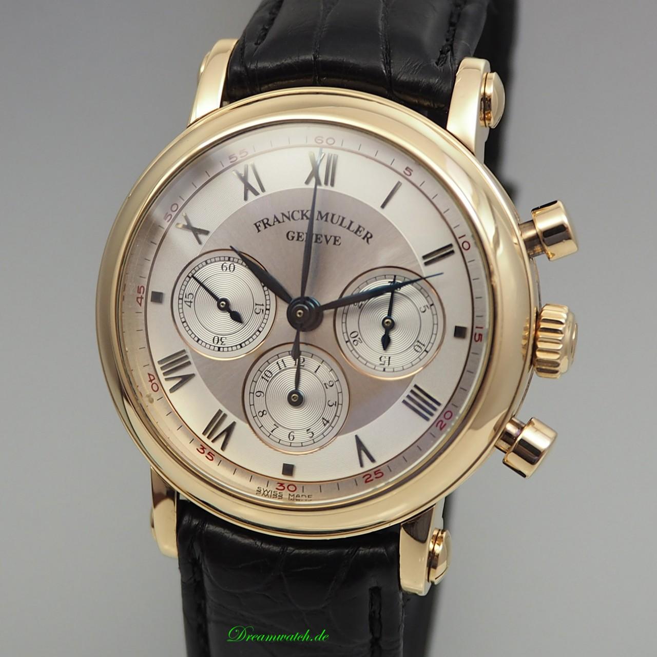 Franck Muller Chronograph Ronde 3870 NA, Gold18k/750 Handaufzug Lemania, B+P