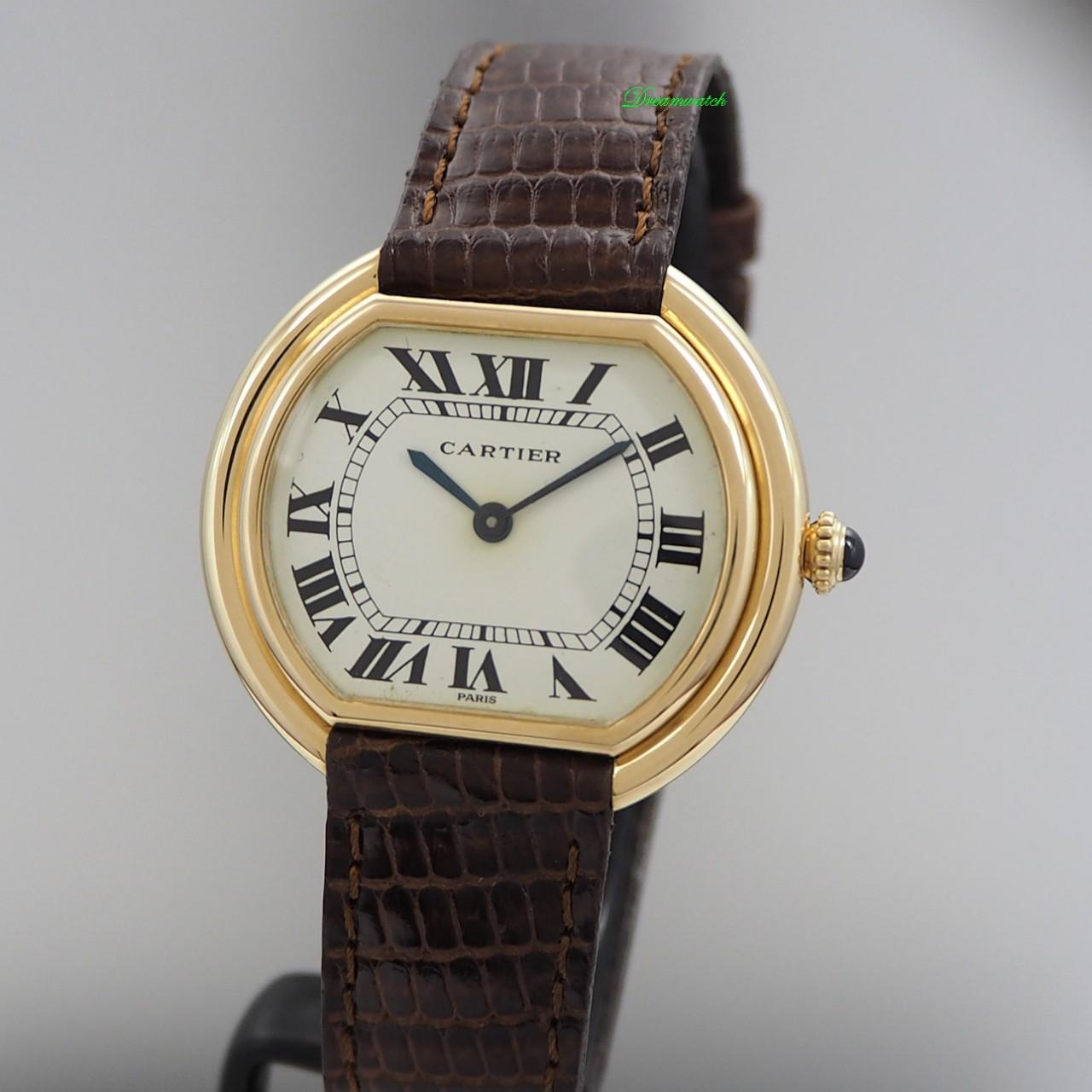 Cartier Paris Ellipse -Gold 18k/ Leder Handaufzug