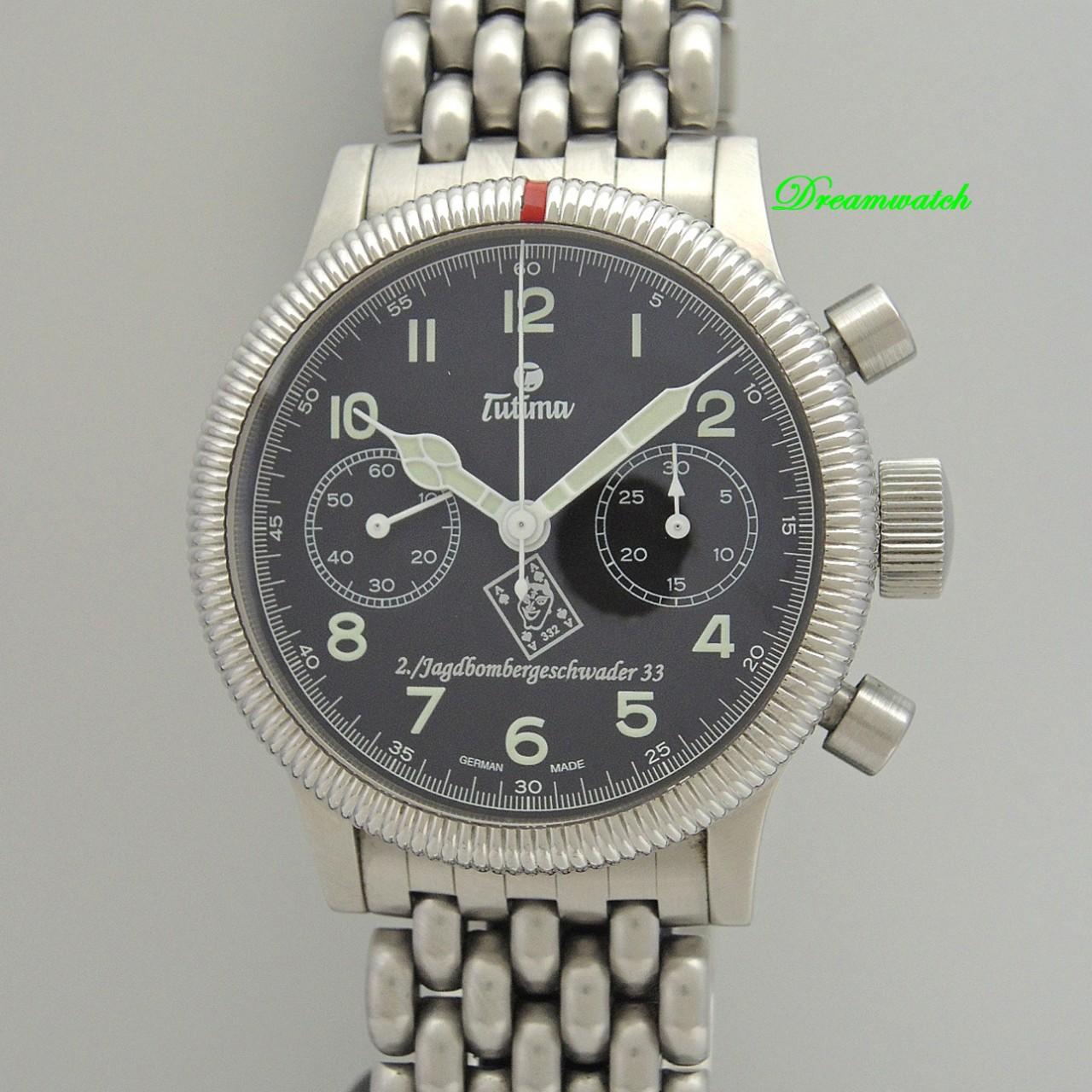 Tutima Fliegerchrono Jagdbombergeschwader 33 Chronograph -Stahl/ Stahl, B&P
