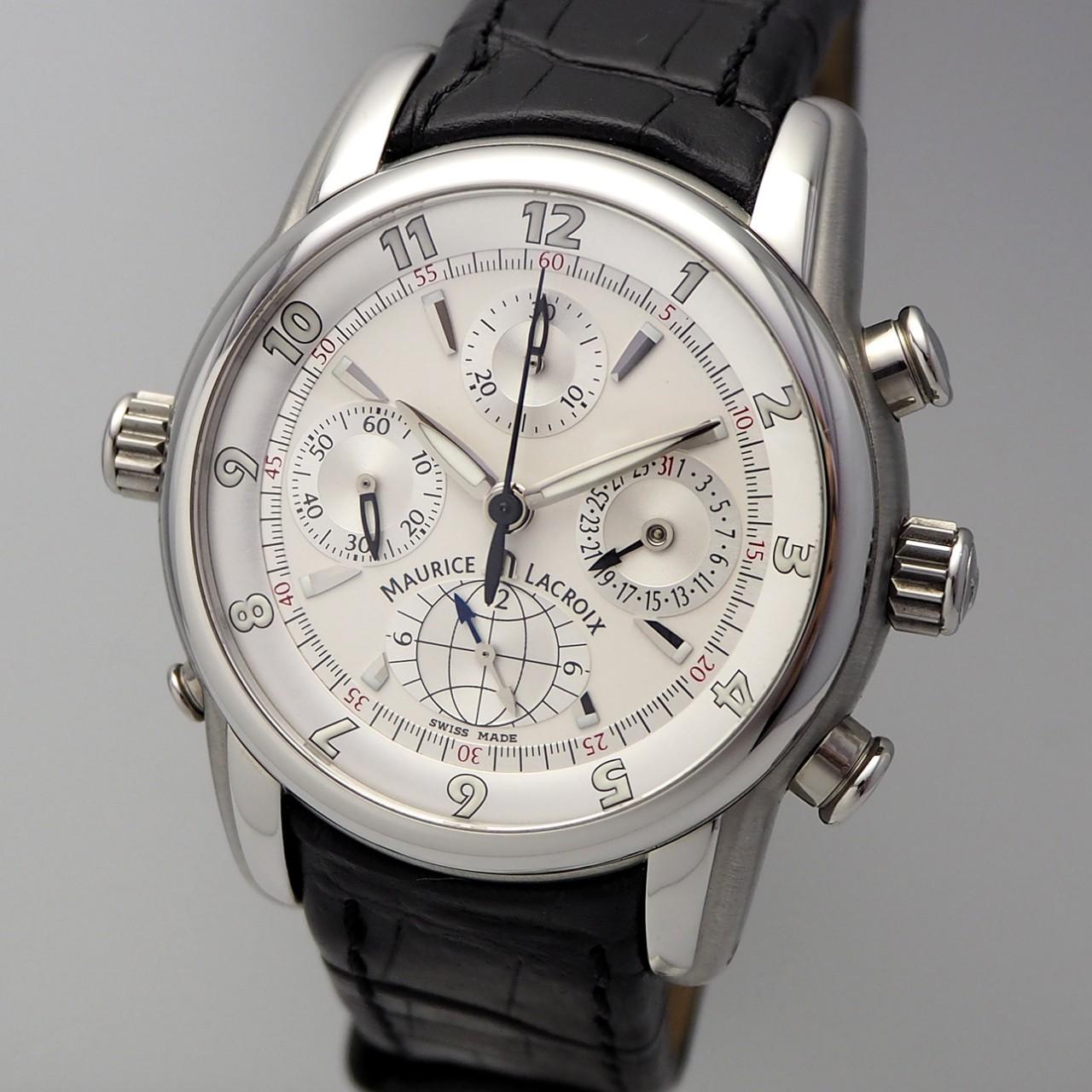 Maurice Lacroix Globe Chronograph -Stahl-Leder, Box und Papiere, ungetragen