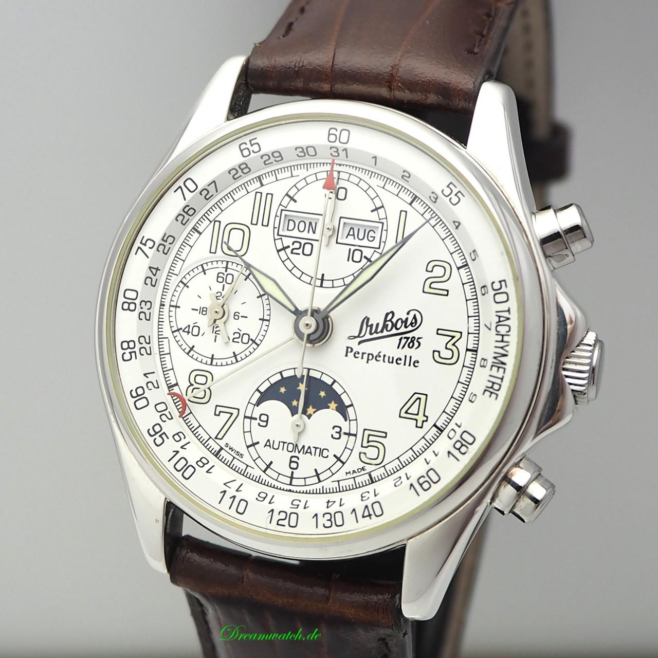"""Dubois & Fils Montre Le Perpetuelle Vollkalender Chronograph Limited Ed. """"Deutsche Mark"""" Box & Papie"""