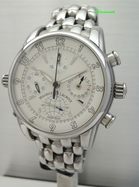 Maurice Lacroix Globe Chronograph -Stahl-Stahl, Box und Papiere TOP