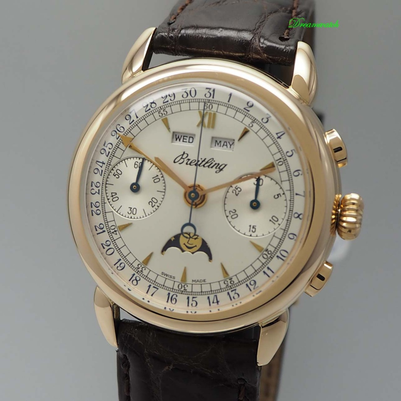 Breitling 1939 Montbrillant Chronograph Vintage Rosegold 18k -perfect +serviced!