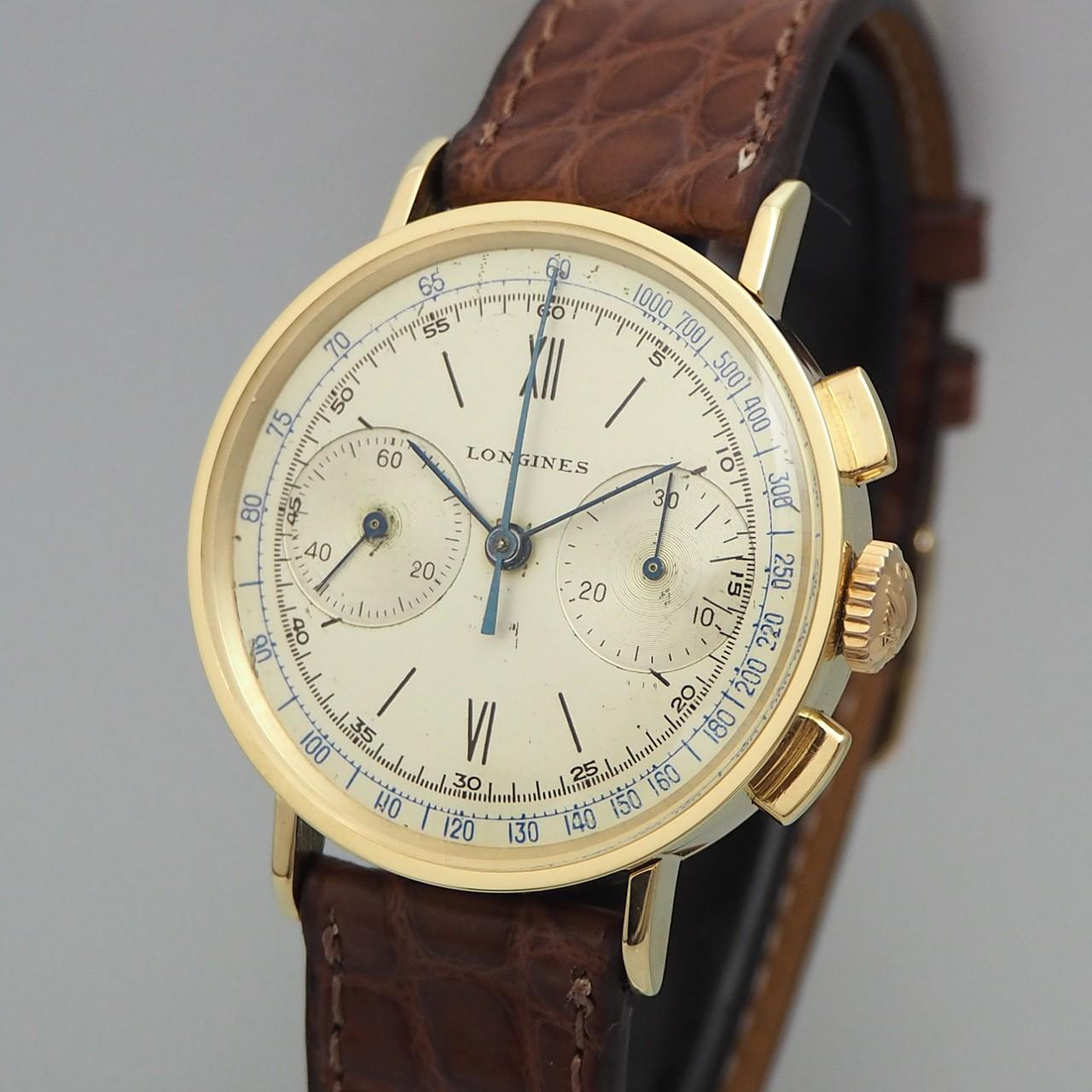 Longines vintage Chronograph 13ZN / 1940 -Gold 14k /Leder Ref.: 4381
