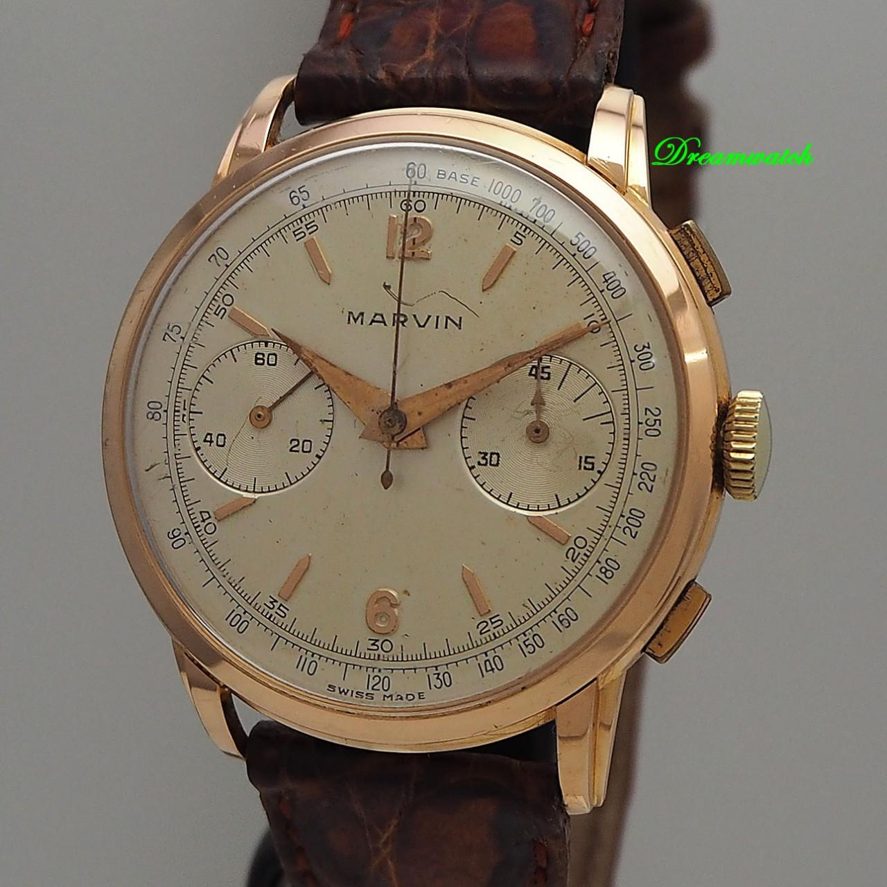 Marvin Vintage Chronograph 18k/ 750/- Rosegold Valjoux 22