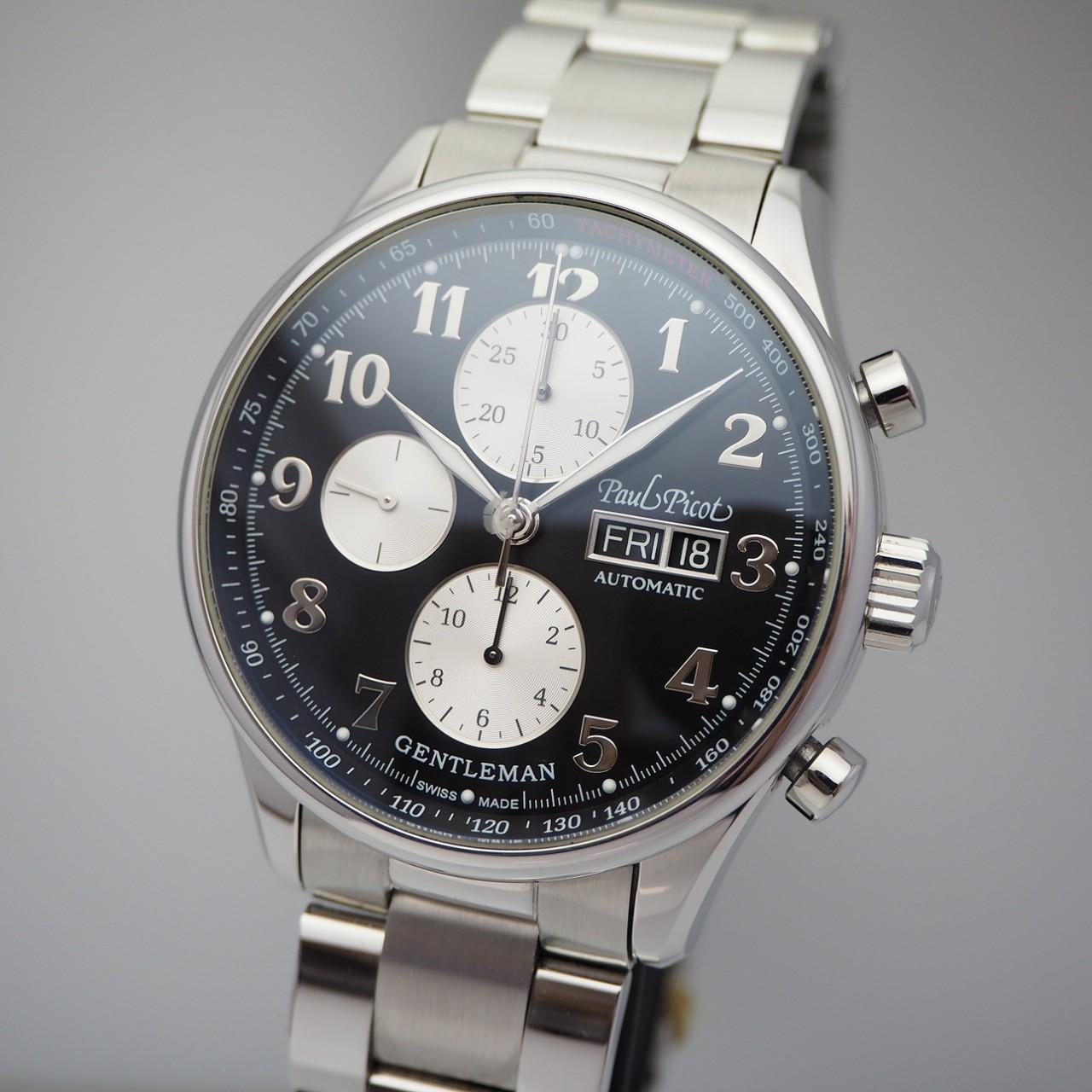 Paul Picot Gentleman Chronograph Stahl/ Stahl 2021 NEU, B & P