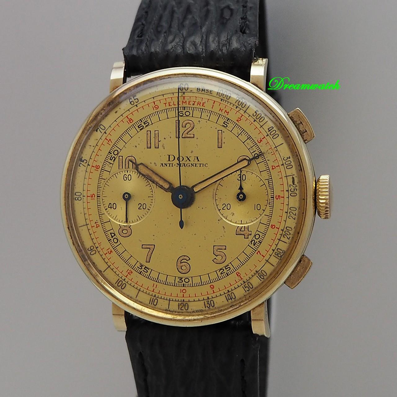 Doxa Vintage Chronograph 14k/ 585/-Gold Valjoux 22