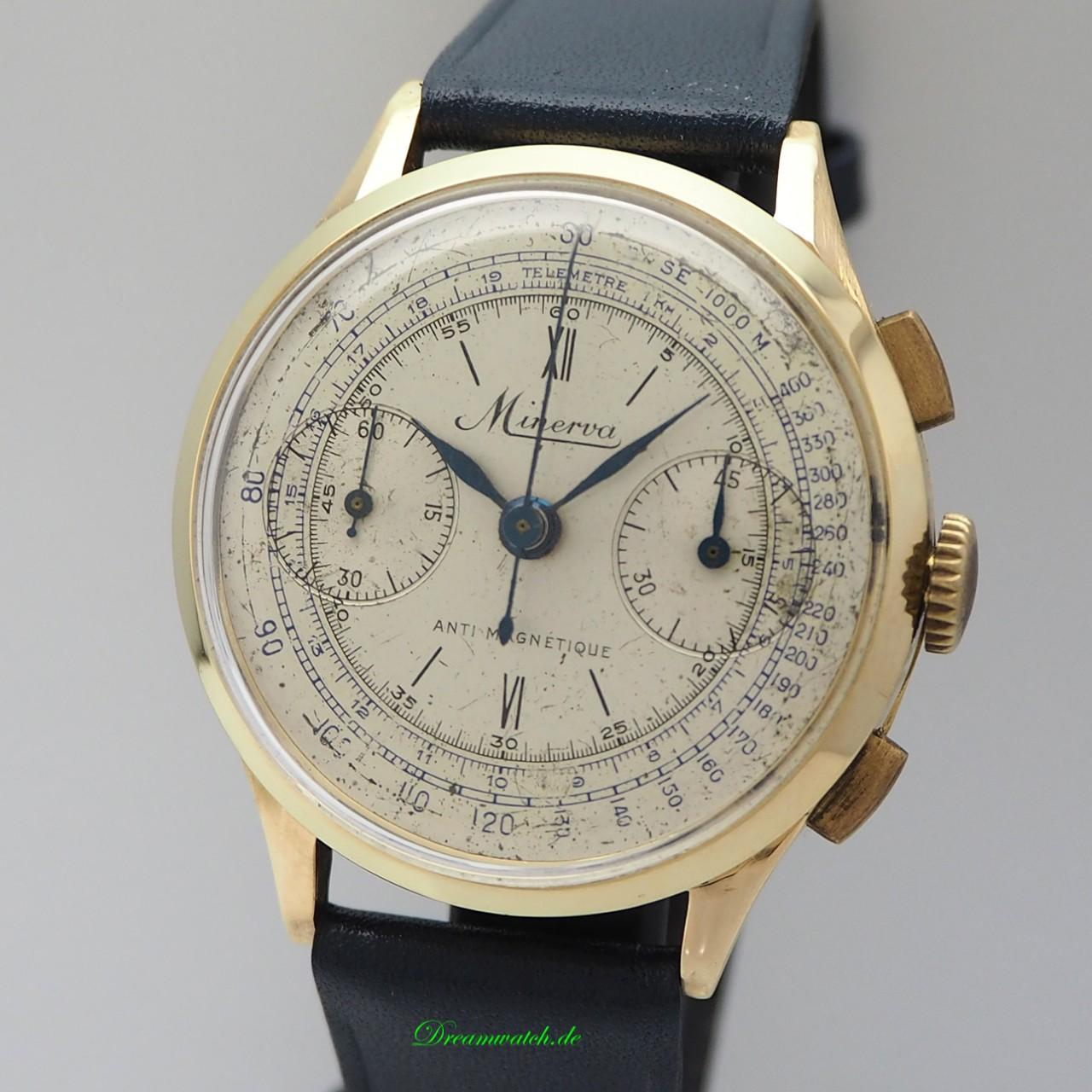 Minerva Vintage Telemetre Chronograph Gold 18k/750, very rare