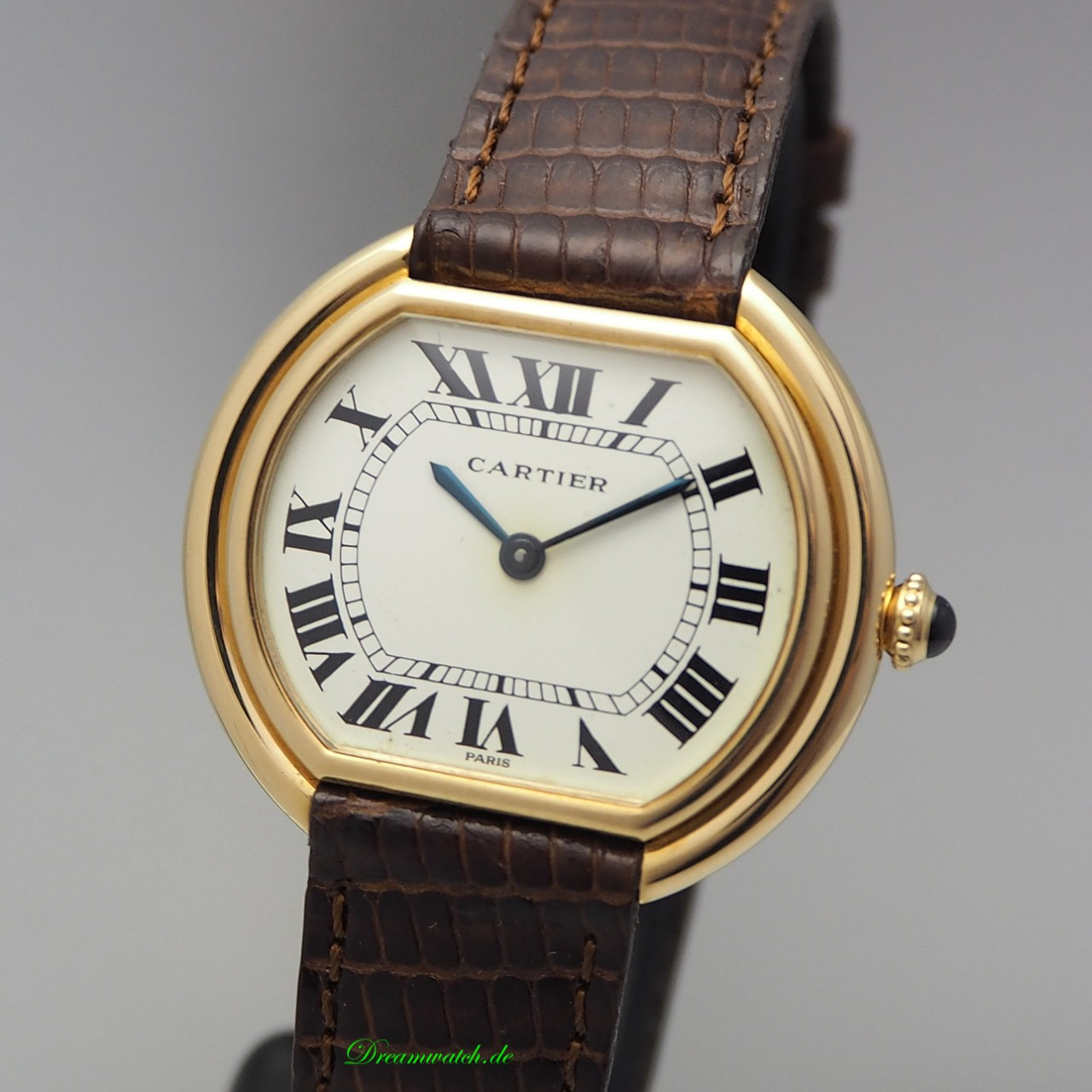 Cartier Paris Ellipse -Gold 18k/ Leder Handaufzug, B&P
