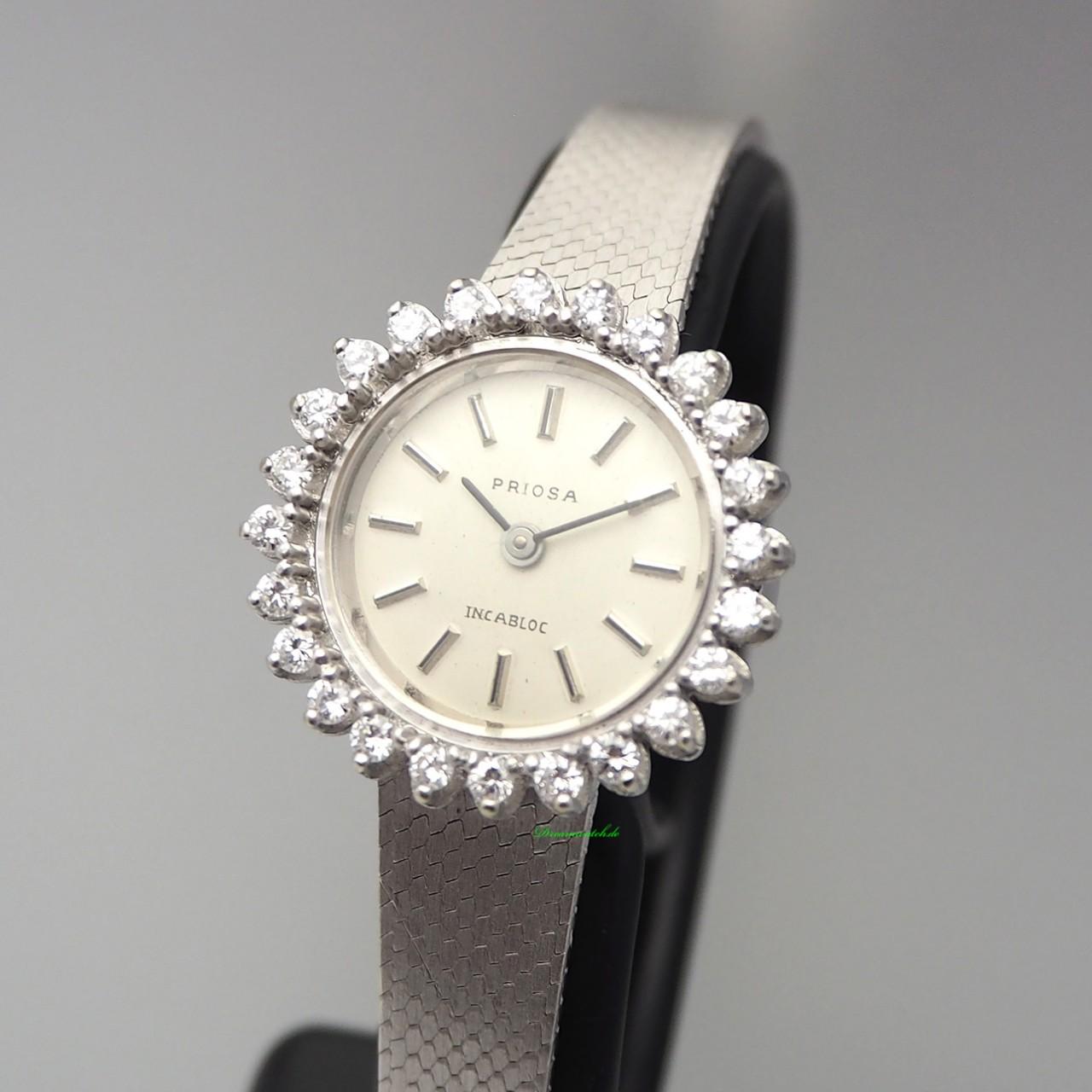 Priosa Vintage Schmuck-Uhr Diamant, Handaufzug, WG 14k/585