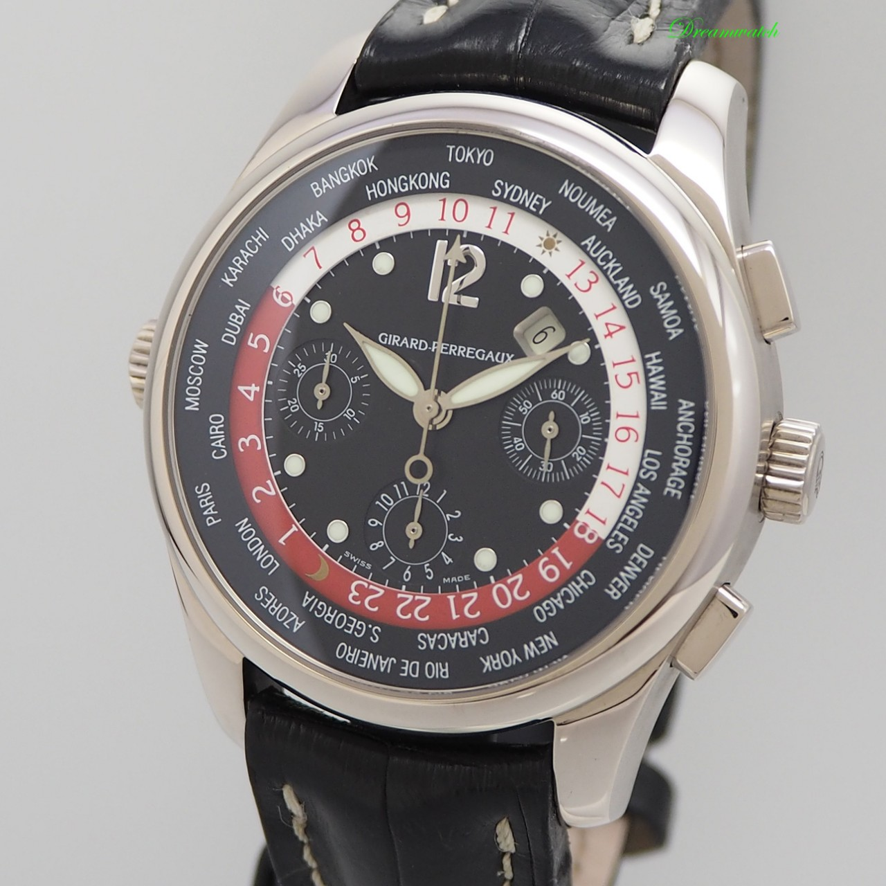Girard Perregaux ww.tc World Time Chronograph 4980 WG 18k/750, Box+Papiere