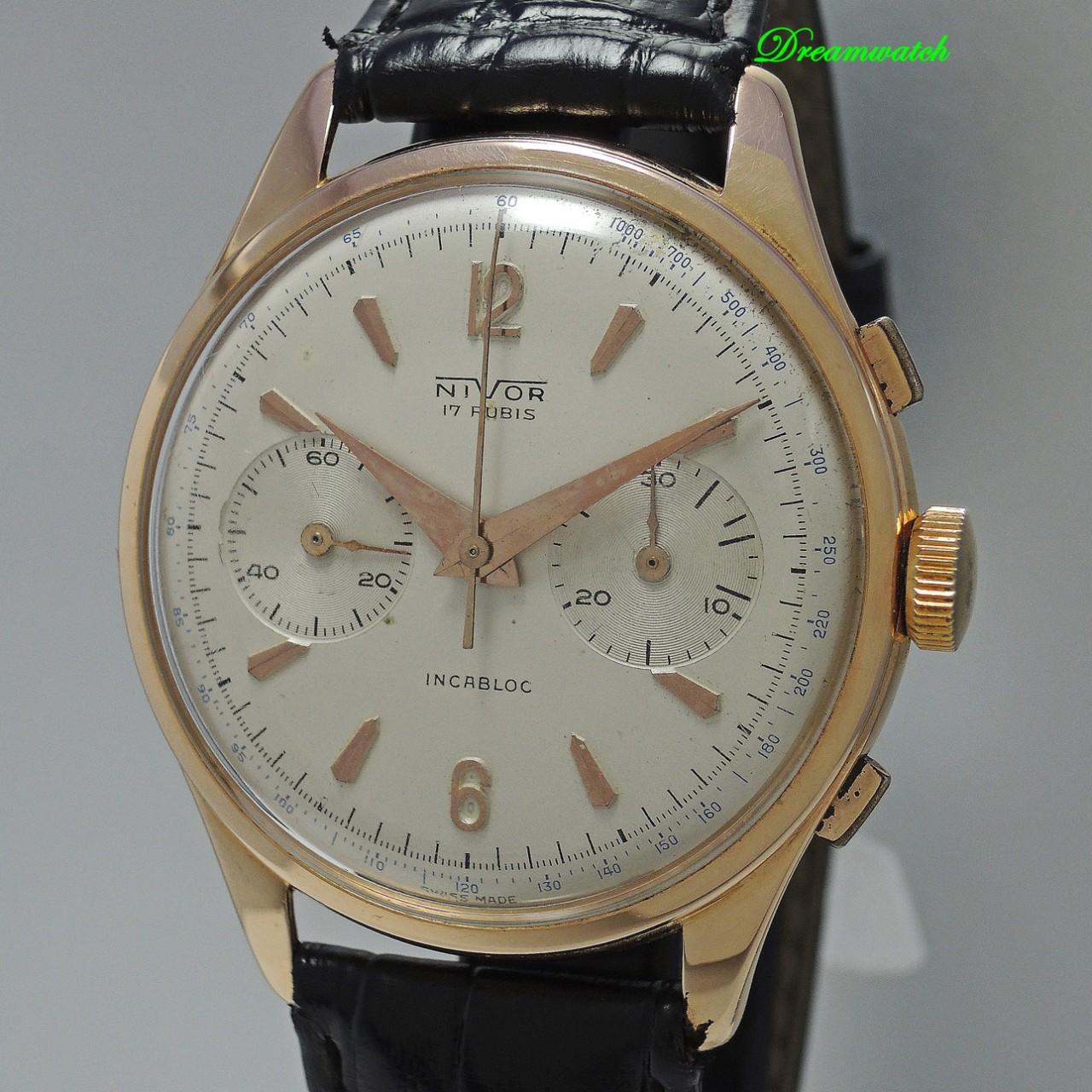 Nivor Vintage Chronograph 18k Rotgold Valjoux 23