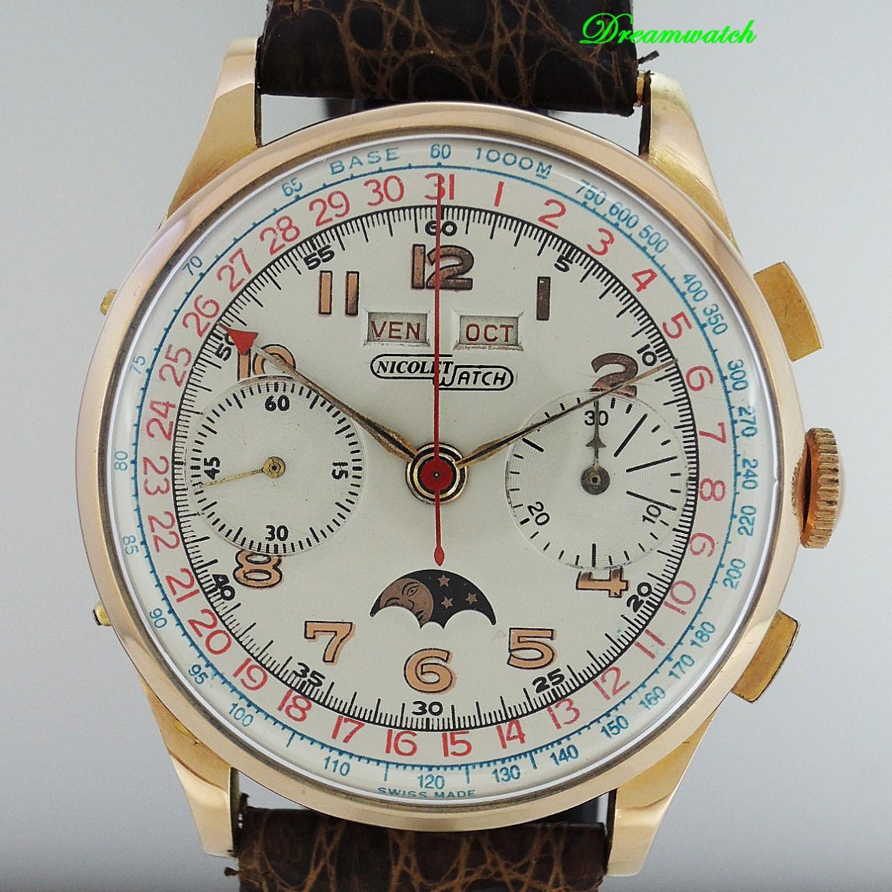 Nicolet-watch Vollkalender Chronograph Mondphase Venus 200 18k Rosegold