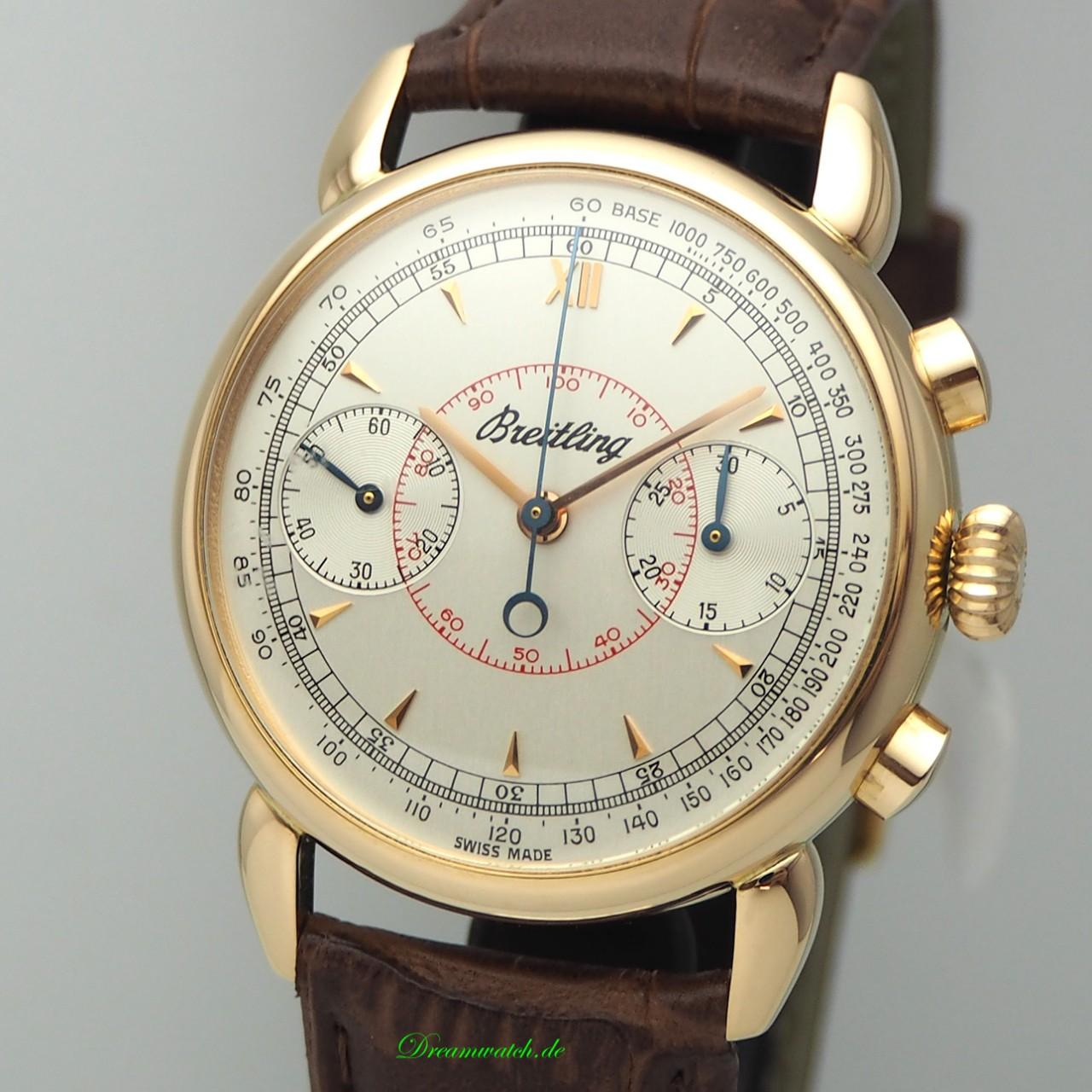 """Breitling Chronograph 175 """"Serie Limitee"""" Vintage -Gold 18k/750 Box+Papiere"""