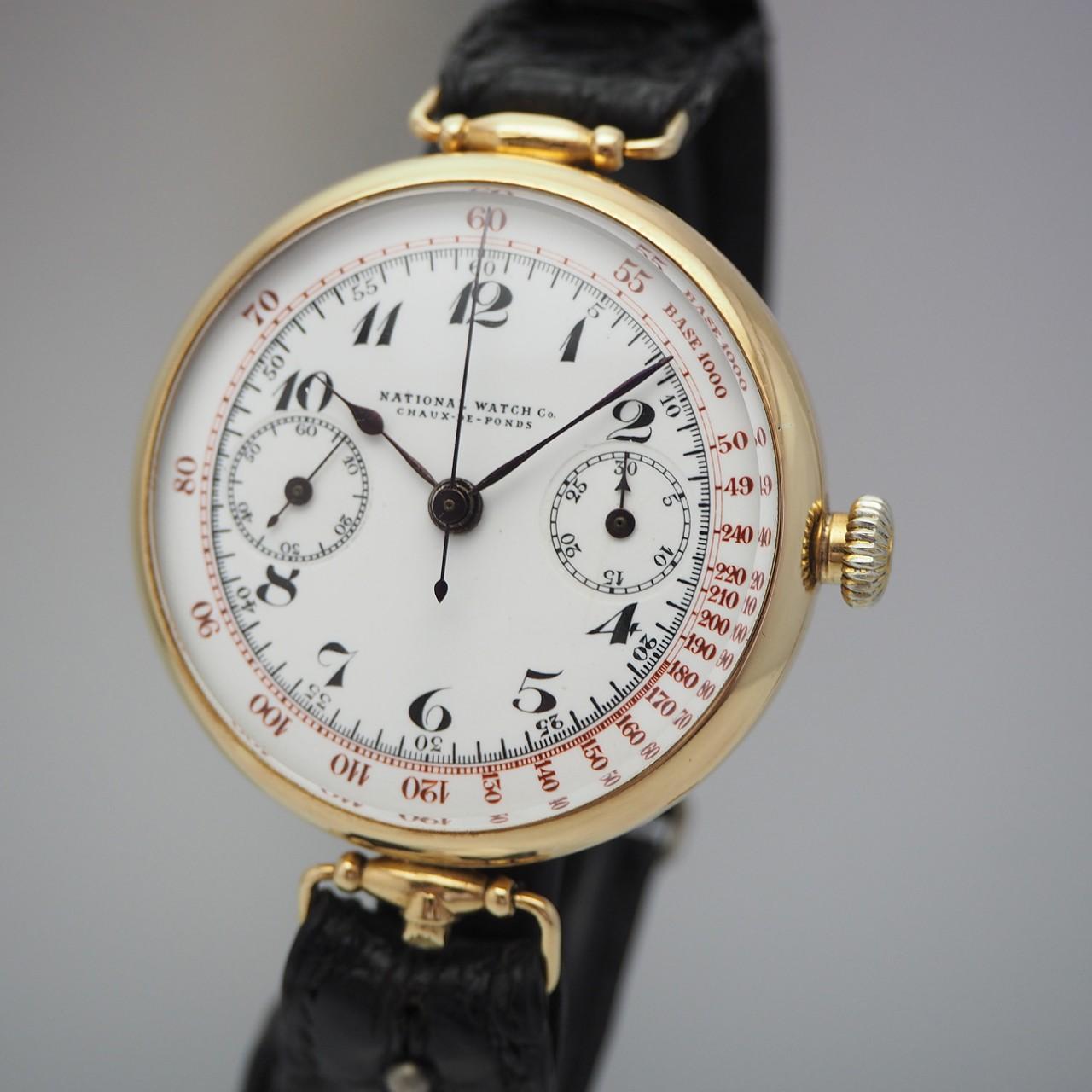 National watch Co/ La Chaux-de-Fonds, Oversize-Chronograph Vintage Enamel / ca. 1920, Gold 18k/750