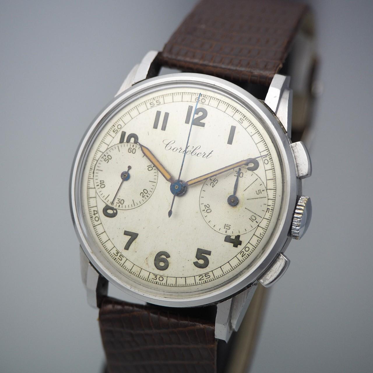 Cortebert Chronograph Vintage 2-Register Stahl/Leder, rare