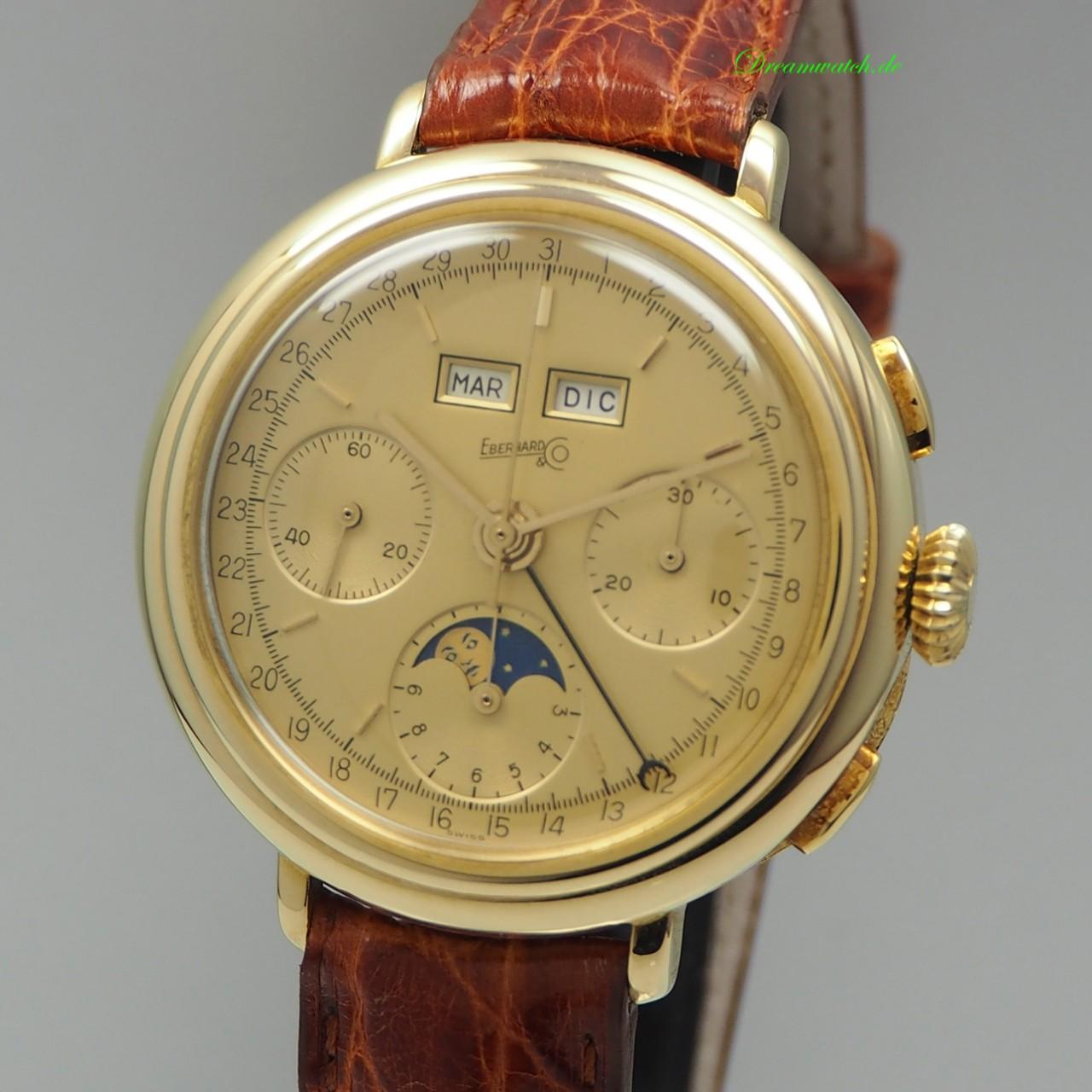 Eberhard & Co Full Calendar moonphase Vintage Cal.Valjoux 88 -Gold 18k/750 RAR