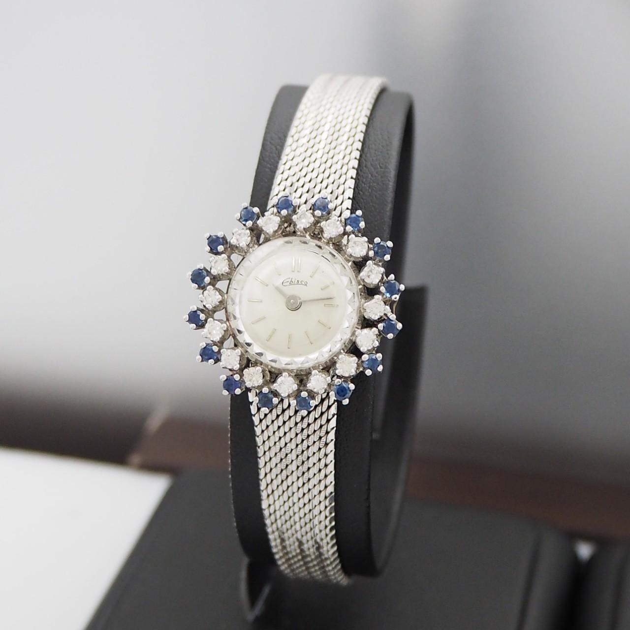 Ebisco Vintage Schmuck-Uhr Diamant+Saphir, Handaufzug WG 14k/585