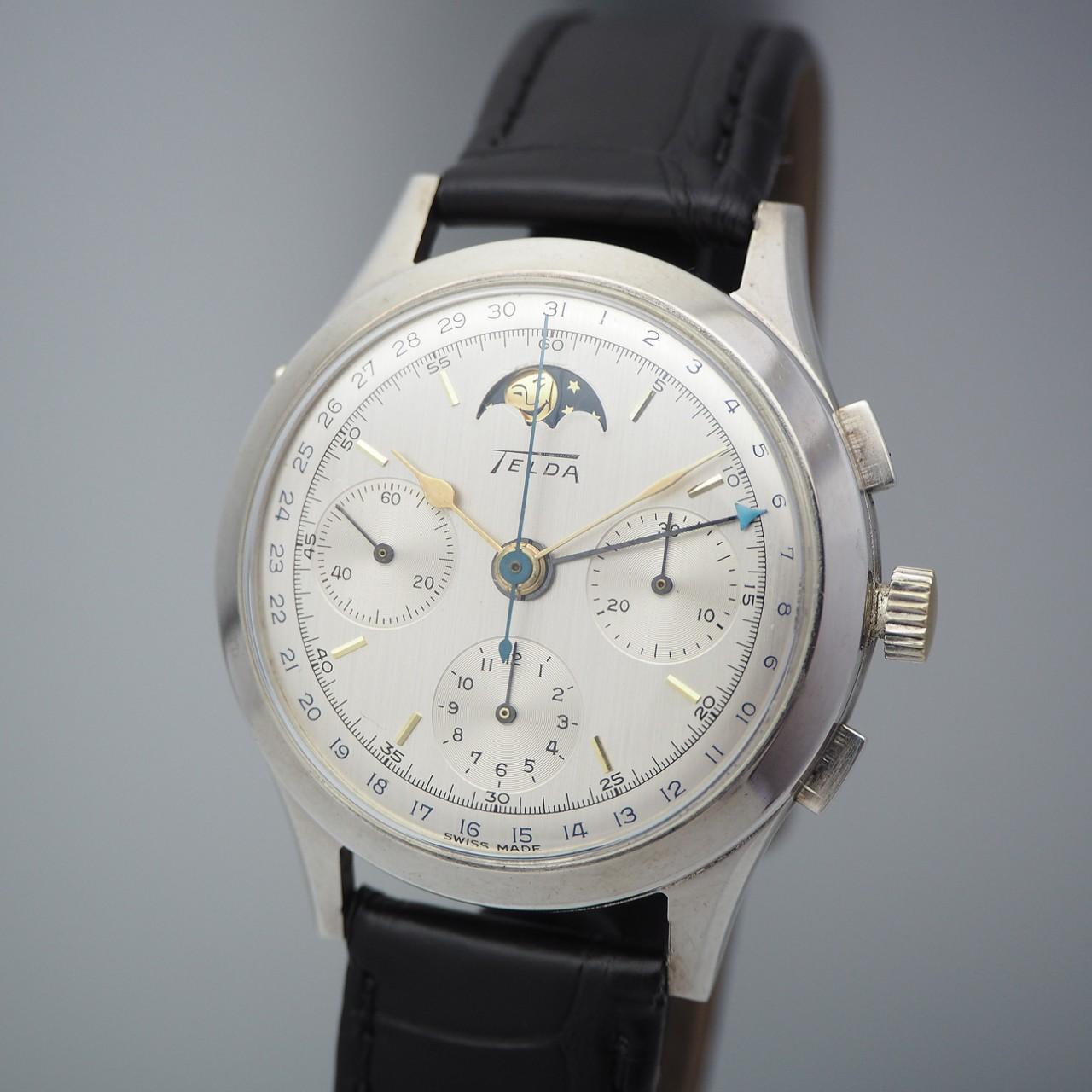 Telda Chronograph Moonphase Vintage Limited Edition 130 , Silber 925/ Leder, Venus 187, ULTRA Rare